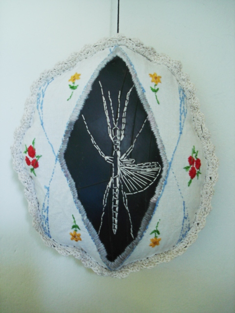 embroidery on rubber, and found cloth