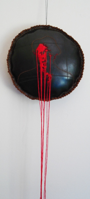 """""""Romeo is bleeding"""" Embroidery on rubber/inner tube"""