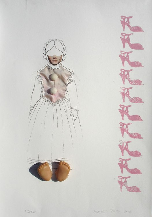 Things considered typically feminine: torture. Transfer print and found objects on fabriano paper. 2007