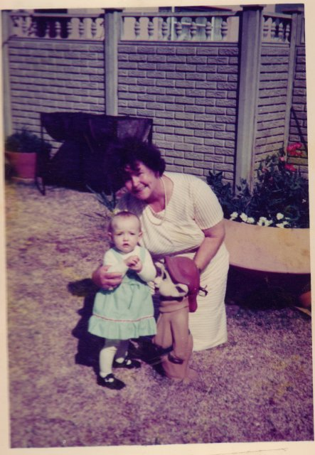 My grandmother, me and  a garden gnome