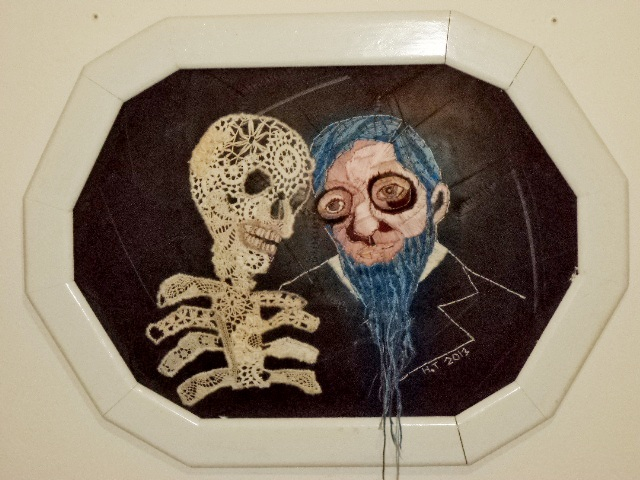 She married him anyway (bluebeard). Embroidery on rubber/inner tube.