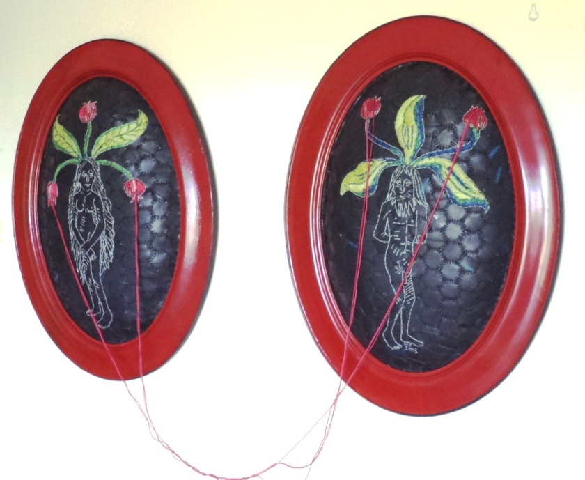 """Mandrake: male and female (pollinating)"" Embroidery on rubber and thread. Painted vintage frames"