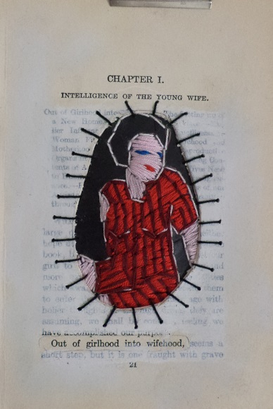 Young wife- Chapter 1. Embroidery on rubber, found and altered page.