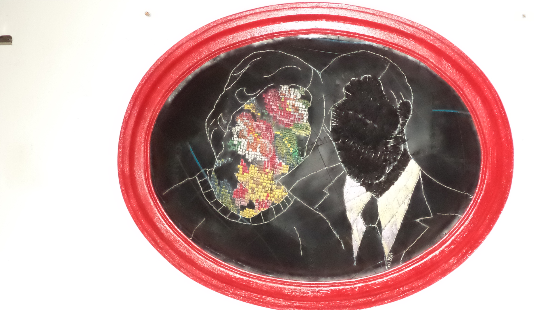 """""""Fauna & Flora aka Beauty and the Beast"""" Embroidery on rubber/inner tube and found fibre"""