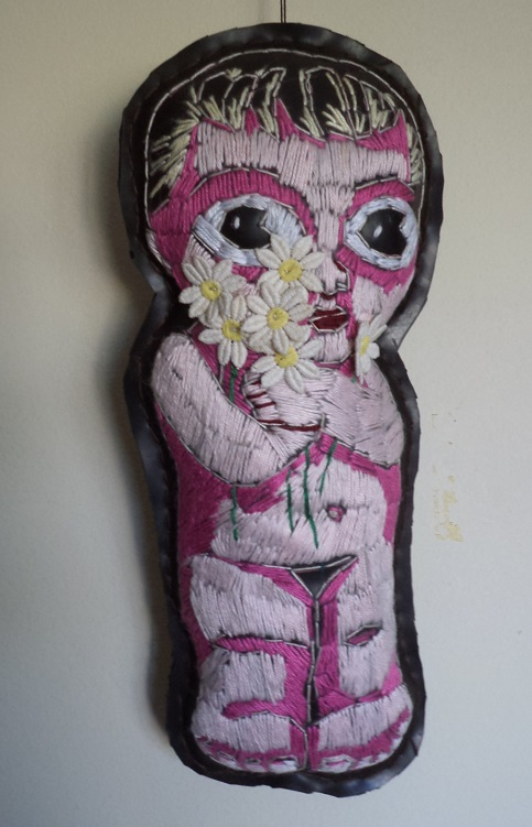 """Blomme-meisie"" embroidery on rubber/inner tube.  310 x120 mm (private collection)"