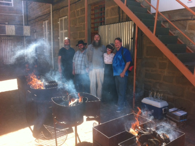 At Willem's BUSH braai.  From left to right: Stephan Erasmus, Ferdinand Bruwer, Willem Boshoff, myself and Gordon Froud