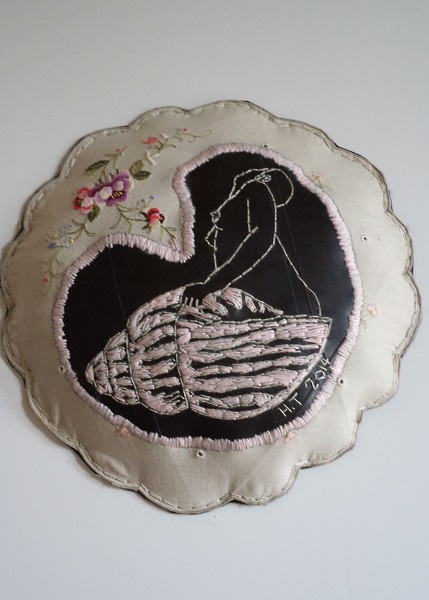 """Shell"" I stay, or 'shell' I go? Embroidery on rubber and found cloth. 2014"