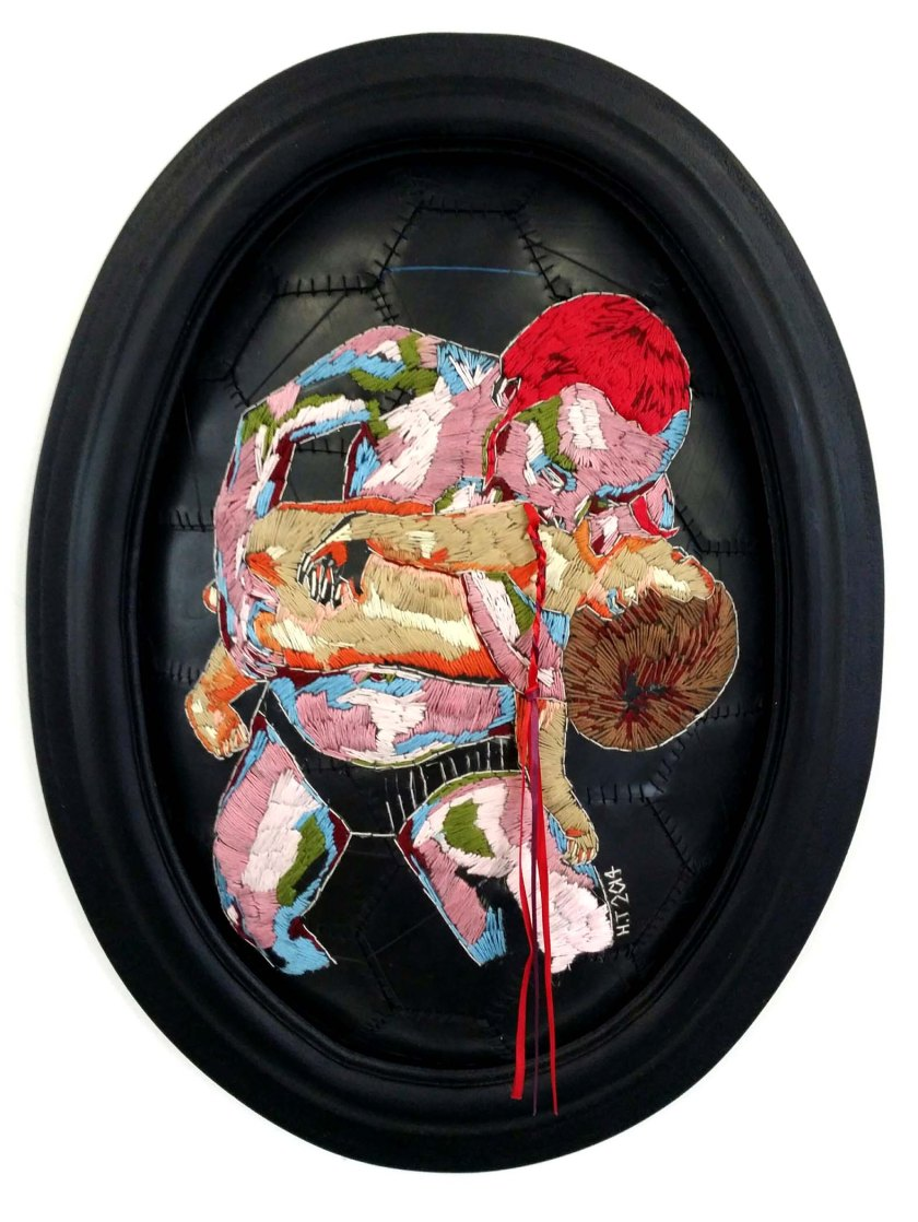 """Venus devouring her children"" 2014 embroidery on rubber. (photo courtesy of the curator Alex Hamilton)"