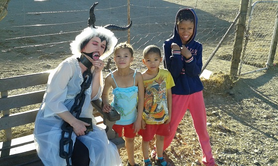 with some local children in the Karoo