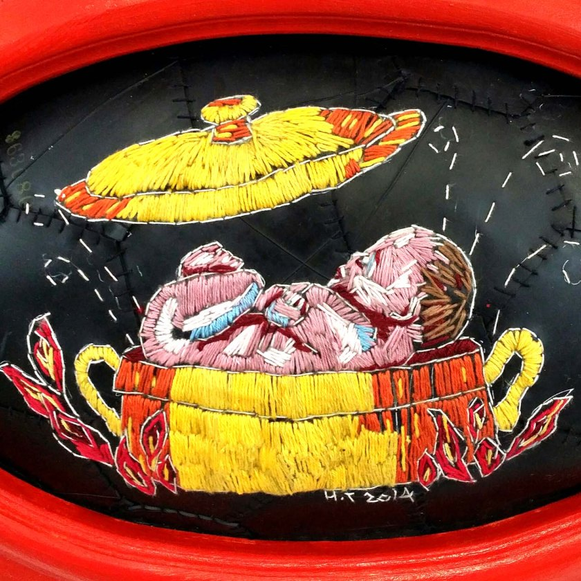 """Burn baby burn"" embroidery on rubber/inner tube 2014"