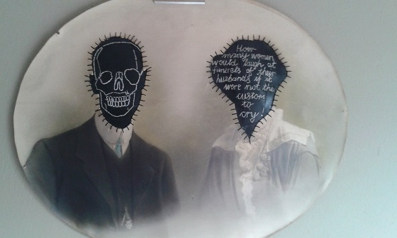 """Funeral"" embroidery on rubber, altered photograph. 2014 (private collection)"
