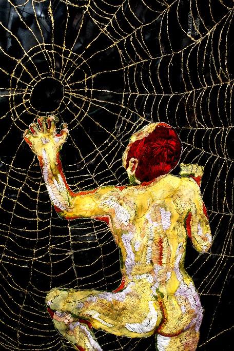 """In the days when Bertha spun) golden thread, cotton thread, oil paint, rubber 2015"