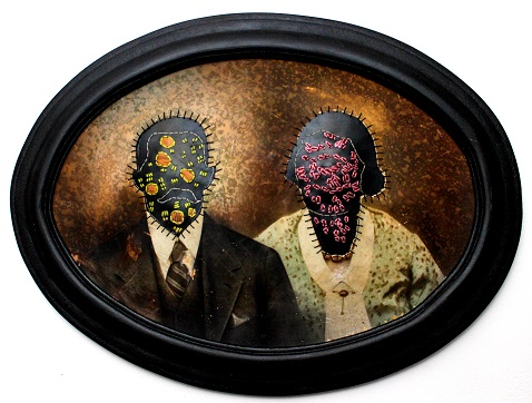 """""""It's contagious"""". Altered photograph, cotton thread, rubber and wooden frame."""