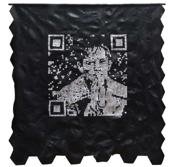 Snap n Scan (Self-Portrait) Ribbon and Rubber 170 x 165 cm