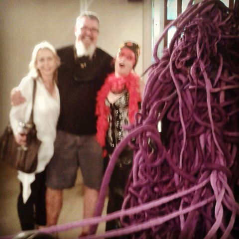 With fellow artists and friends Corlie de Kock and Theo Kleynhans with part of the sculpture by Mary Sibande