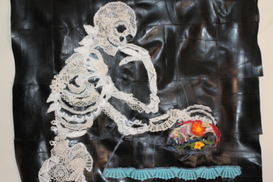 Title: Abra Cadaver, Stink Afrikaner Medium: Found doillies, cotton thread and rubber Size: 118 x 130 cm