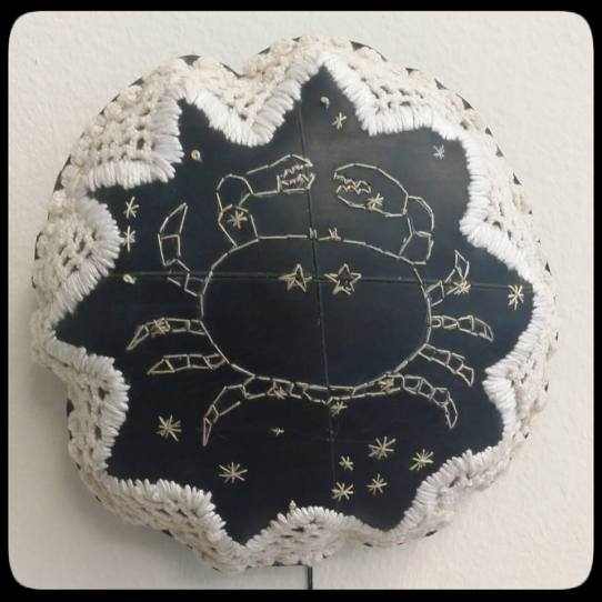 Title: They only come out at night (crab) Medium: cotton thread, batting and rubber 19 x 18 cm