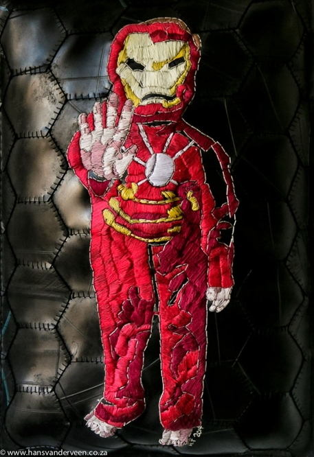 Title: Little Iron man says... Medium: cotton thread and rubber