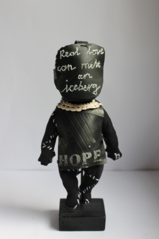 Title: Hope Medium: Found object, cotton thread and rubber