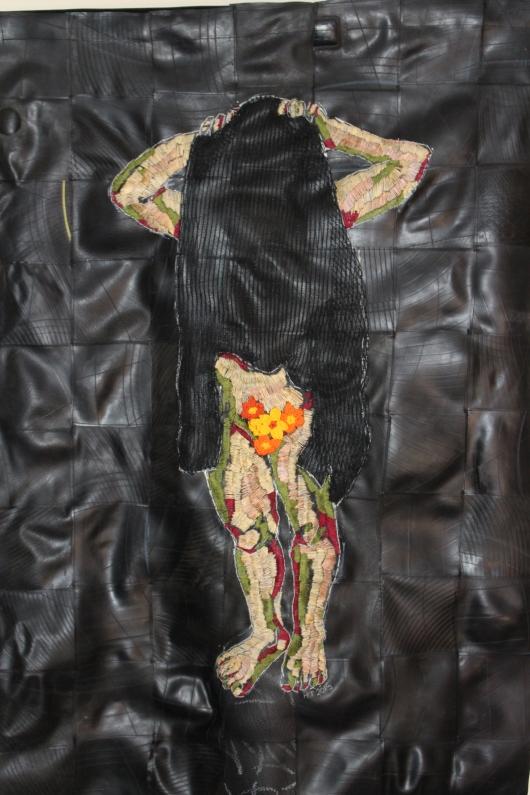 Title: Kopsku Medium: Textile, cotton thread and rubber Size: 140 x 98 cm