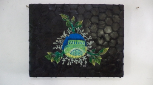 Title: Onkruid vergaan nie Medium: textile, cotton thread and rubber