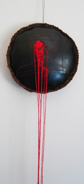 Title: Romeo is bleeding Medium: Cotton thread, batting and rubber