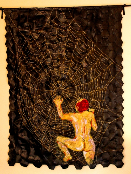Title: In the days when Bertha spun Medium: Cotton and golden thread on rubber