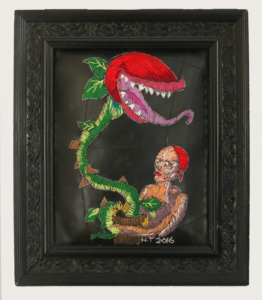 Trapped Venus, Cotton thread, batting, rubber and frame 2016 34 x 29 cm