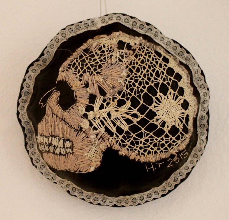Skull 1 Cotton thread, batting and rubber 16 cm diameter