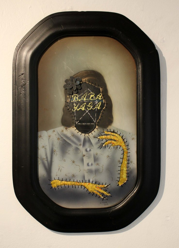 """Heks/Witch"" Altered photograph, cotton thread, rubber and wood. 61 x 42 cm"