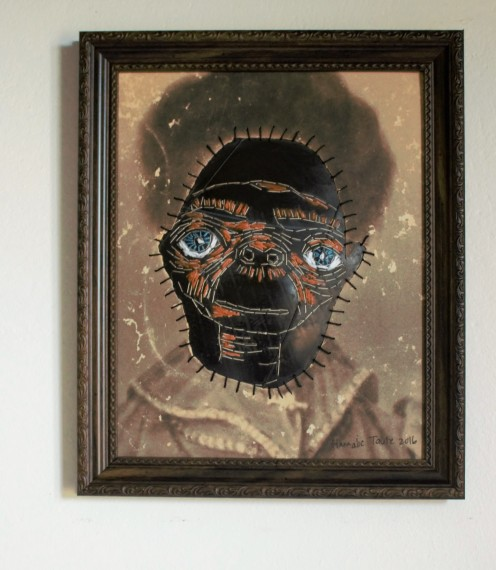 My great, great, great Grandmother 29 x 24 cm (reworked2016) Vintage photograph, cotton thread and rubber (framed)