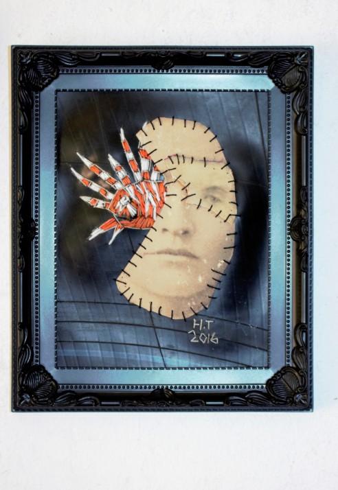 Viswijf 28 x 23 cm (2016) Vintage photograph, cotton thread and rubber