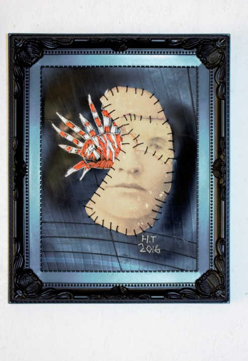 Viswijf 28 x 23 cm (2016) Vintage photograph, cotton thread and rubber