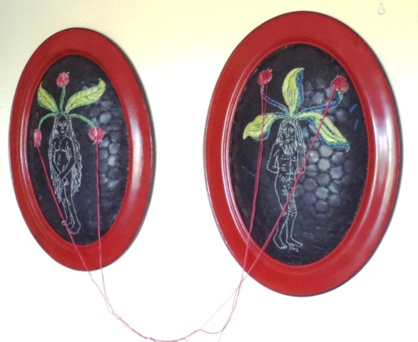 Mandrakes pollinating  62 x 46 cm –each panel (2013) Cotton thread, batting and rubber (framed)