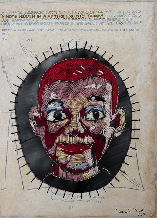 Ventriloquist Size: 28 x 21 cm (unframed) Medium: Paper, oil paint, cotton thread and rubber