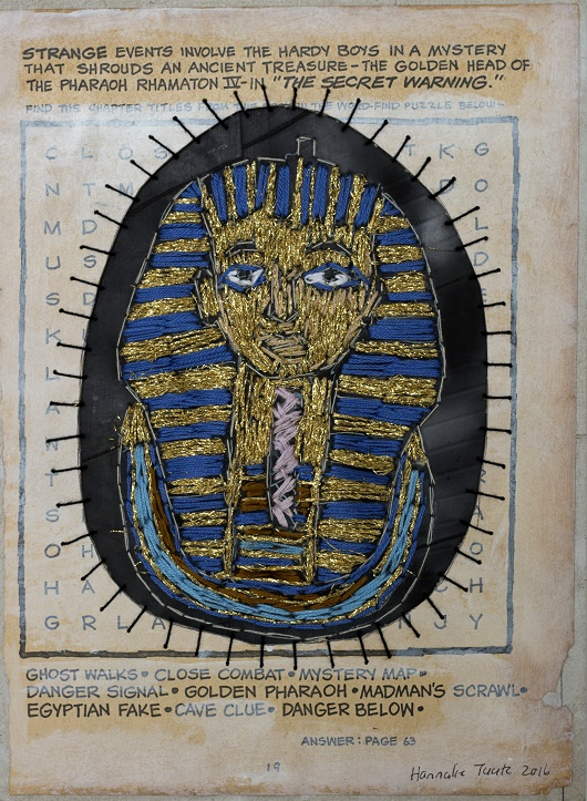 Pharaoh Medium: paper, oil paint, cotton thread and rubber Size: 21 x 28 cm (Unframed)