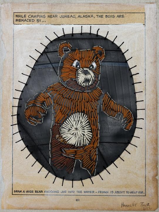 Huge bear Size:28 x 21 cm (unframed) Medium: Paper, oil paint, cotton thread and rubber