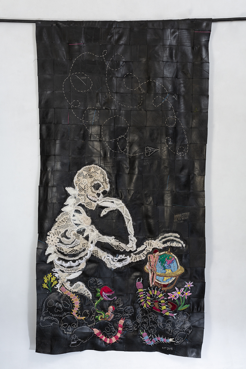 Minutes to midnight 215 x 106 cm cotton thread, doillies and rubber 2018.jpg