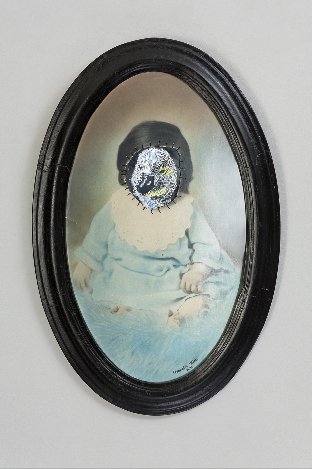 Ugly duckling 59 x 39 cm altered vintage photograph and frame, cotton thread and rubber 2018